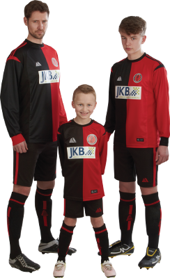Three players in red/black Marseilles kit