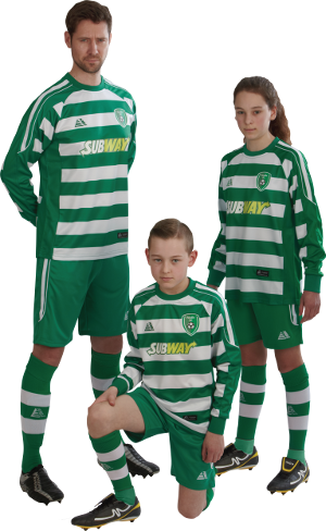 Three players in green and white striped Parma kit