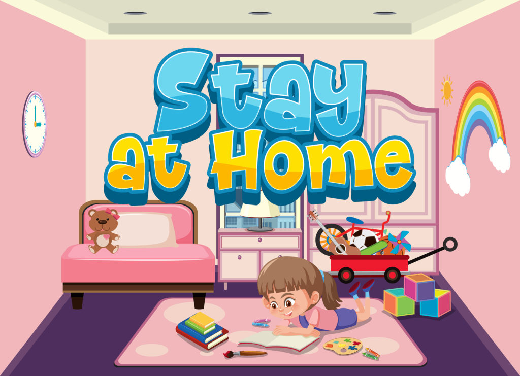 Young girl, stay at home, reading