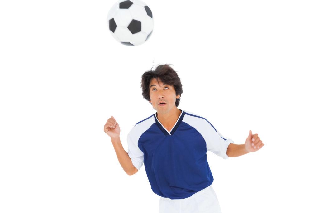 Football player heading football