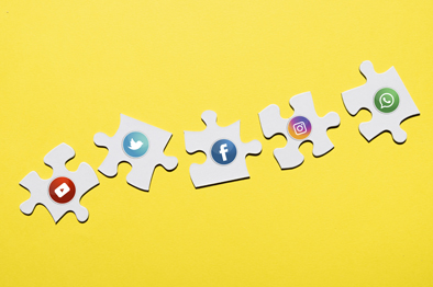 Social media jigsaw pieces