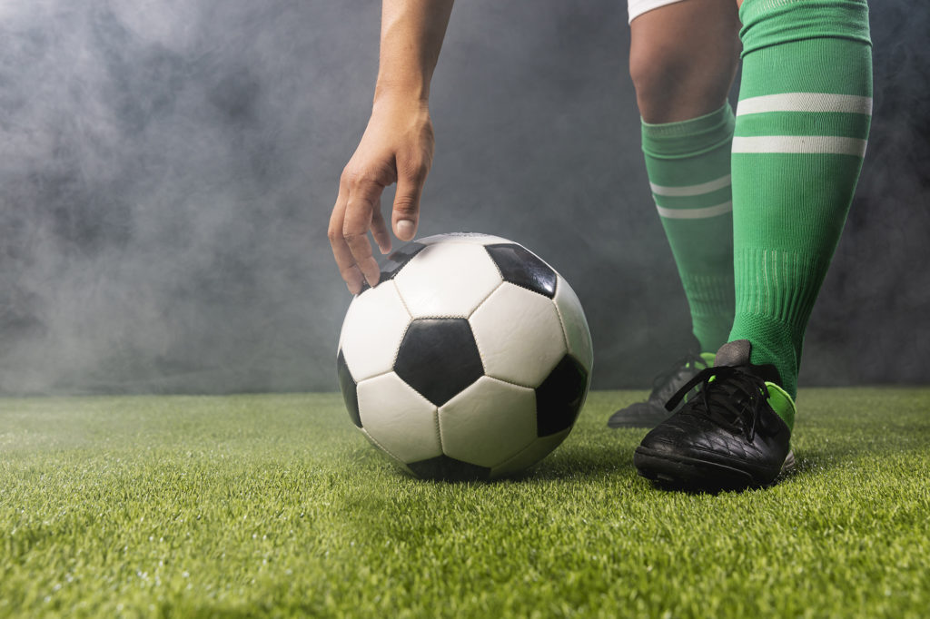 Footballer about to kick