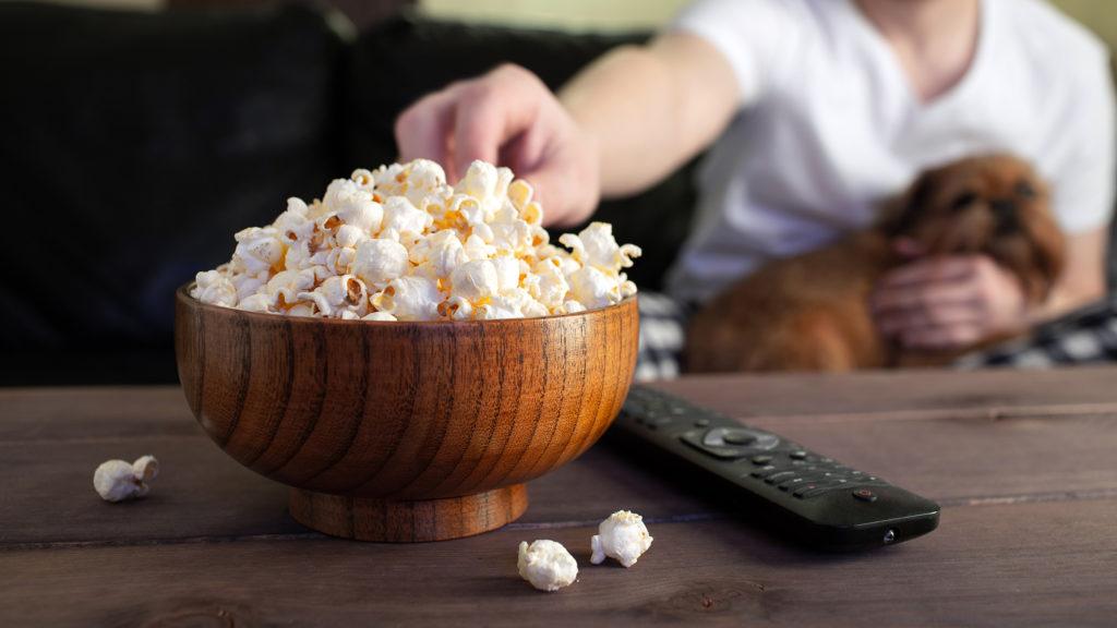 Eating popcorn whilst watching popcorn