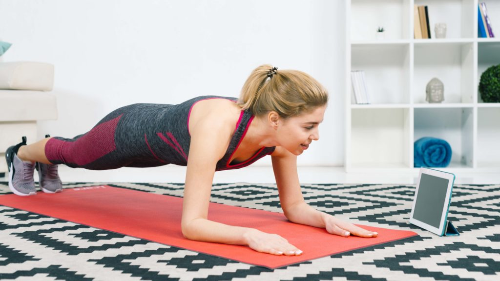 Home workout using tablet