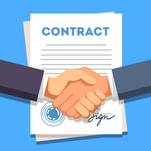 Shaking hands over a contract