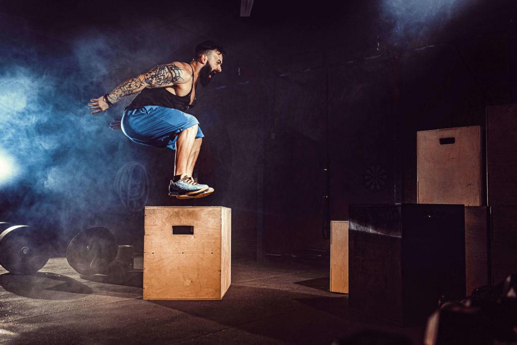 Plyometric football training box jump
