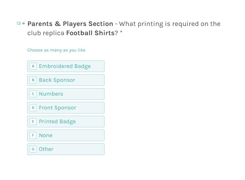 Pendle Sportswear Club Shop Form