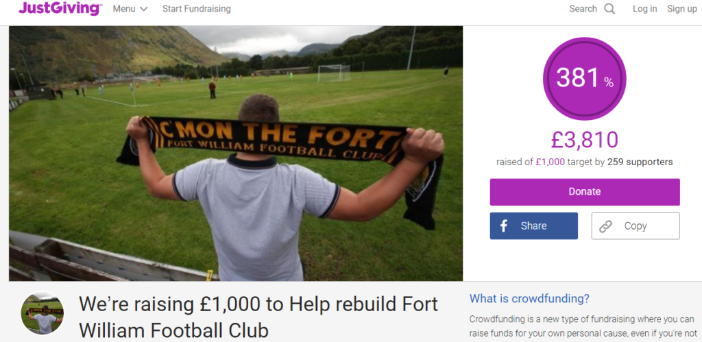 Fort William JustGiving page