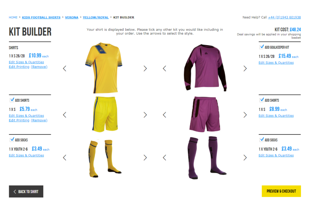 Pendle Sportswear Custom Football Kit Builder