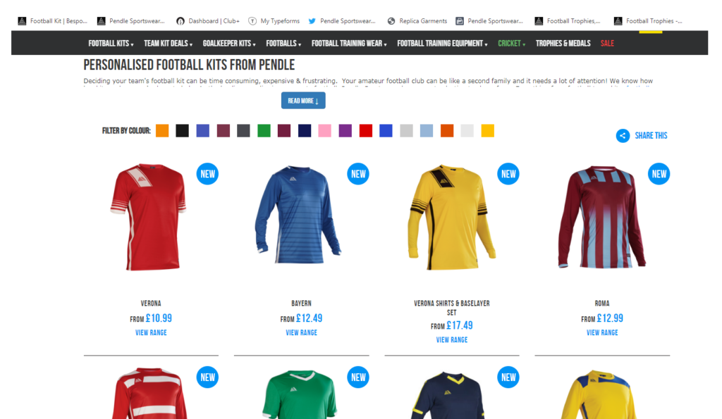 Pendle Sportswear Football Shirts