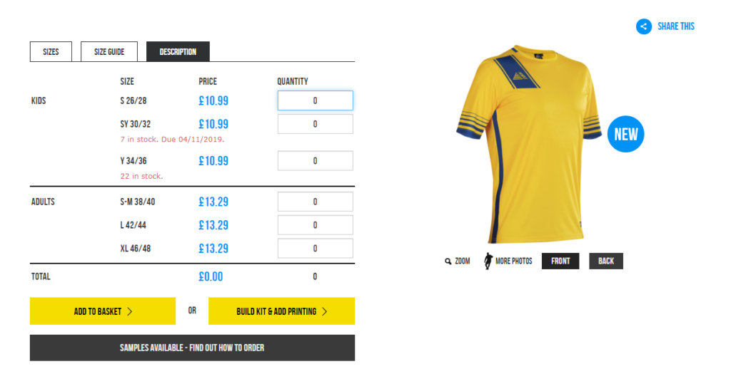 Pendle Sportswear Verona Football Shirt