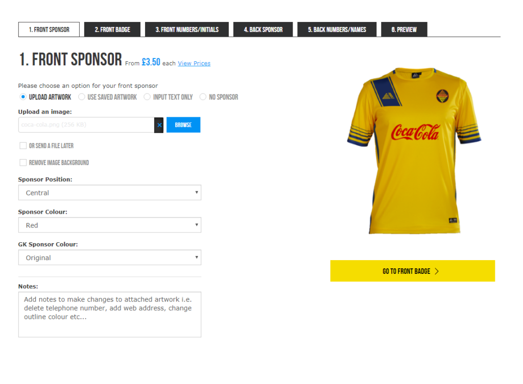 Pendle Sportswear Kit Builder Custom Sponsor