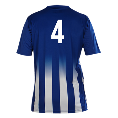 Number 4 on the back of a Pendle Roma Football Shirt