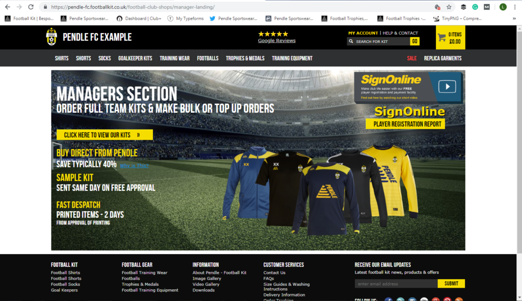 Pendle Sportswear Club Shop Page