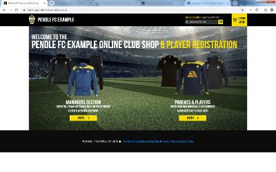 Pendle FC club shop homepage (example)