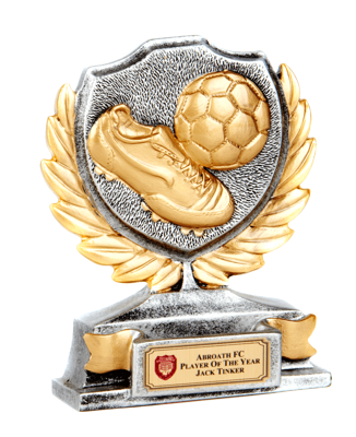 Shield trophy with football and boot detail
